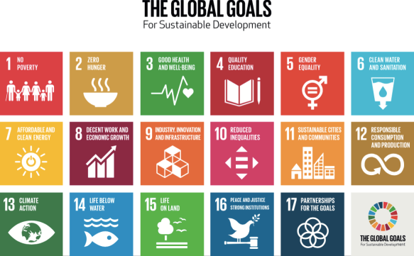 UN Global Goals for Sustainable Development. The SDGs cover critical social and economic development issues such as poverty, hunger, health, education, global warming, gender equality, water, sanitation, energy, urbanization, environment and social justice