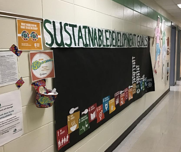 SDG The UN Global Goals for Sustainability on display in the school hallway