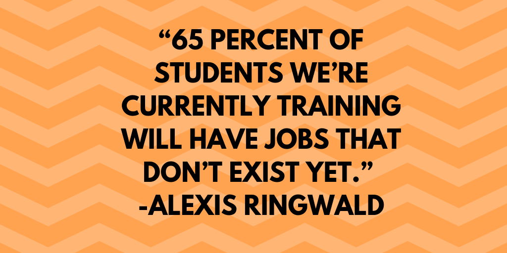 """65 percent of students we're currently training will have jobs that don't exist yet."" -Alexis Ringwald"