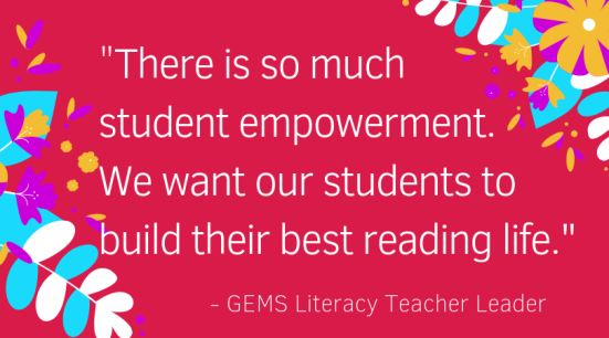 There is so much student empowerment. We want our students to build their best reading life.