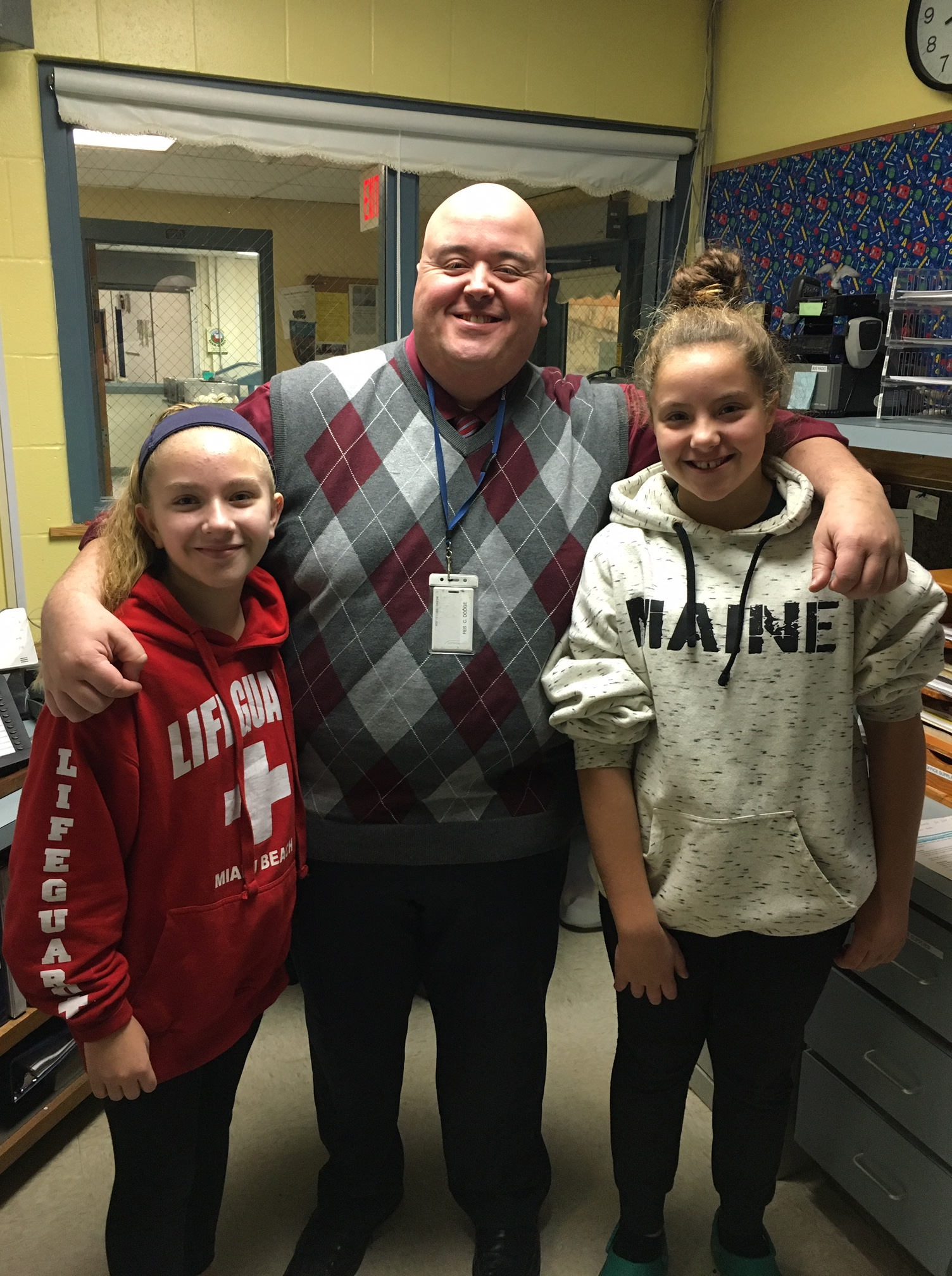 Principal Christopher Dodge pictured with two Fletcher Elementary students