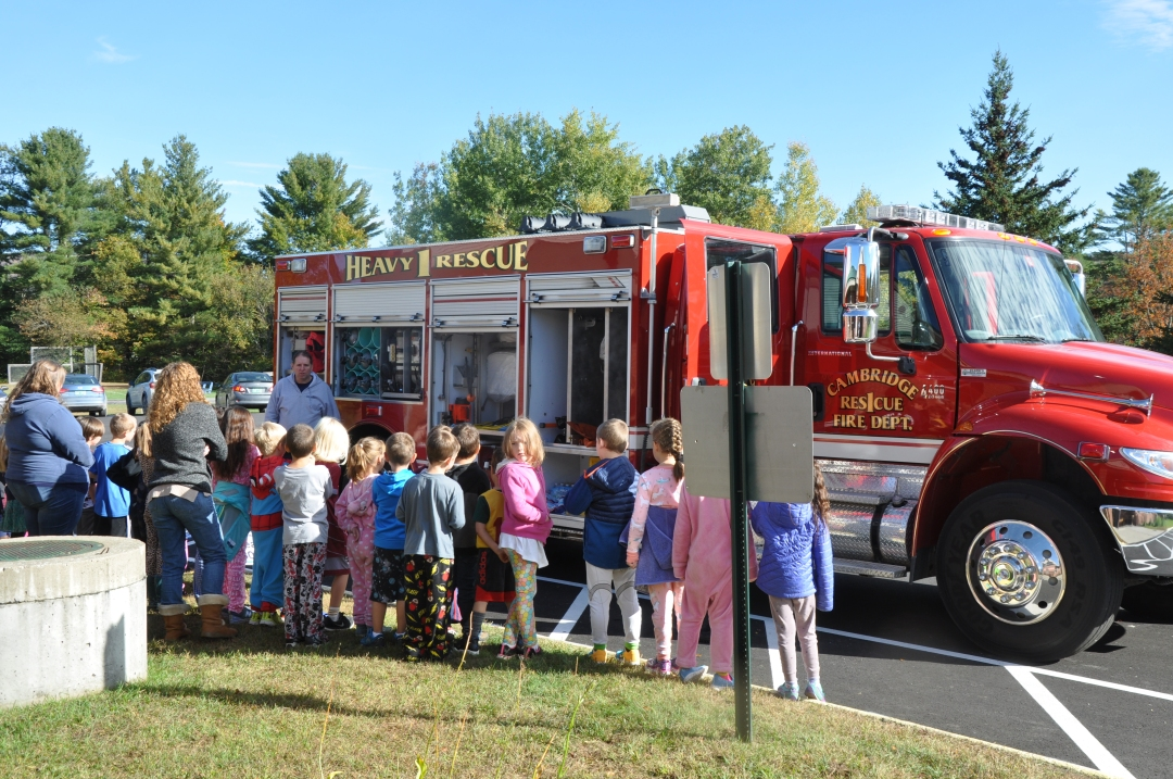 Fletcher Elementary students explore a Fire Rescue Truck during Fire Safety Month