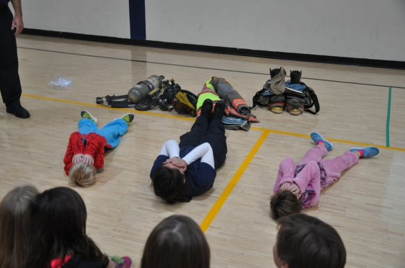 Students at Fletcher Elementary practice fire safety