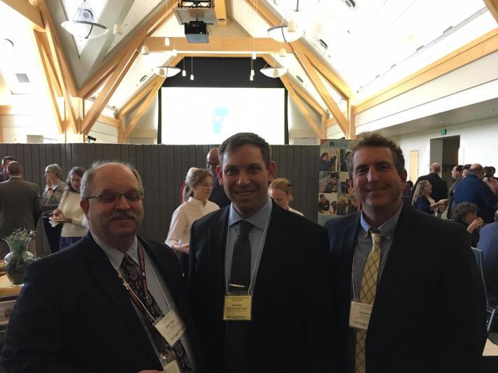 FWSU Outstanding Teacher Ian Flint pictured with John Tague and Ned Kirsch