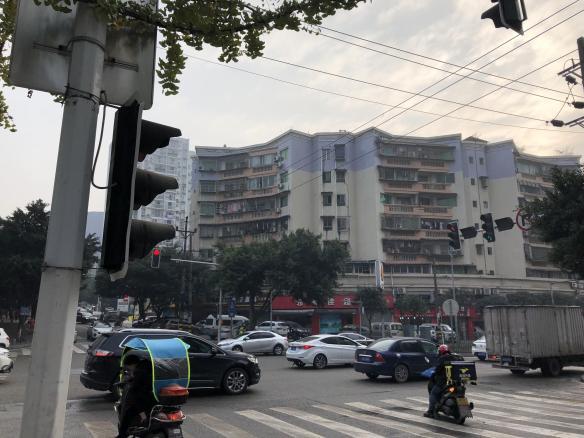 A bustling street corner in Xichang